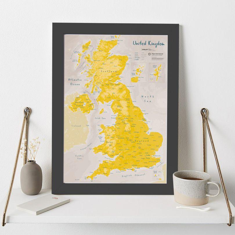 UK as Art Map - Daffodil (Wood Frame - Black)