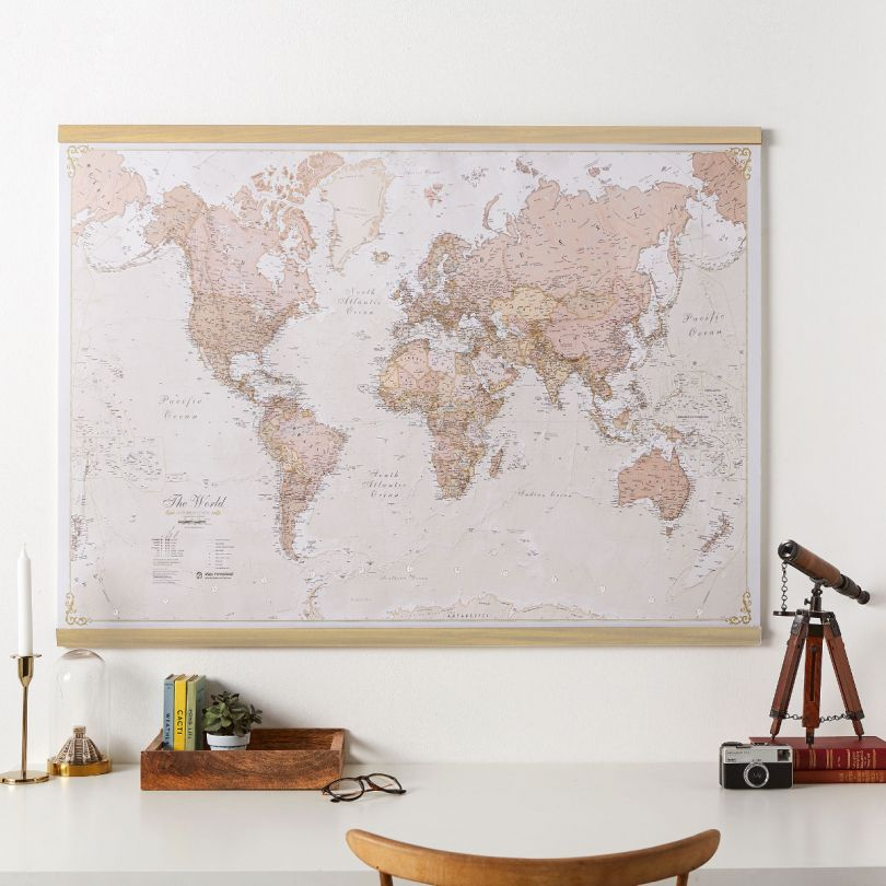 Medium Antique World Map (Rolled Canvas with Wooden Hanging Bars)