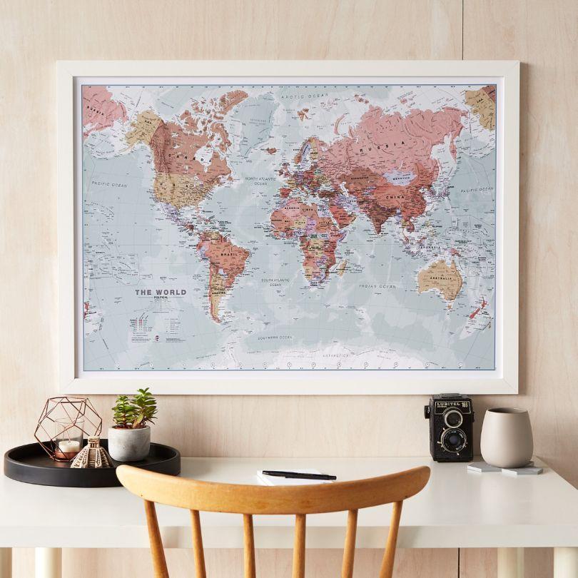 Medium Executive World Wall Map Political (Wood Frame - White)