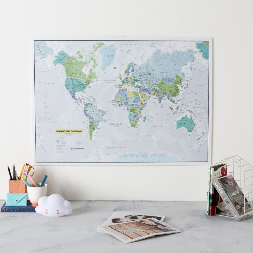 Glow in the Dark World Map (Silk Art Paper - Pack of 2)