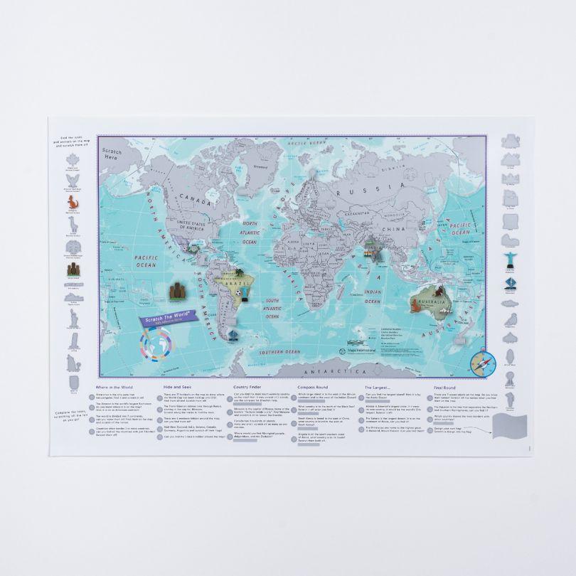 Scratch the World® activity adventure map print (Silk Art Paper - Pack of 2)