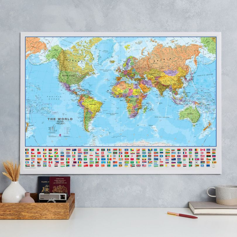 World Wall Map Political with flags
