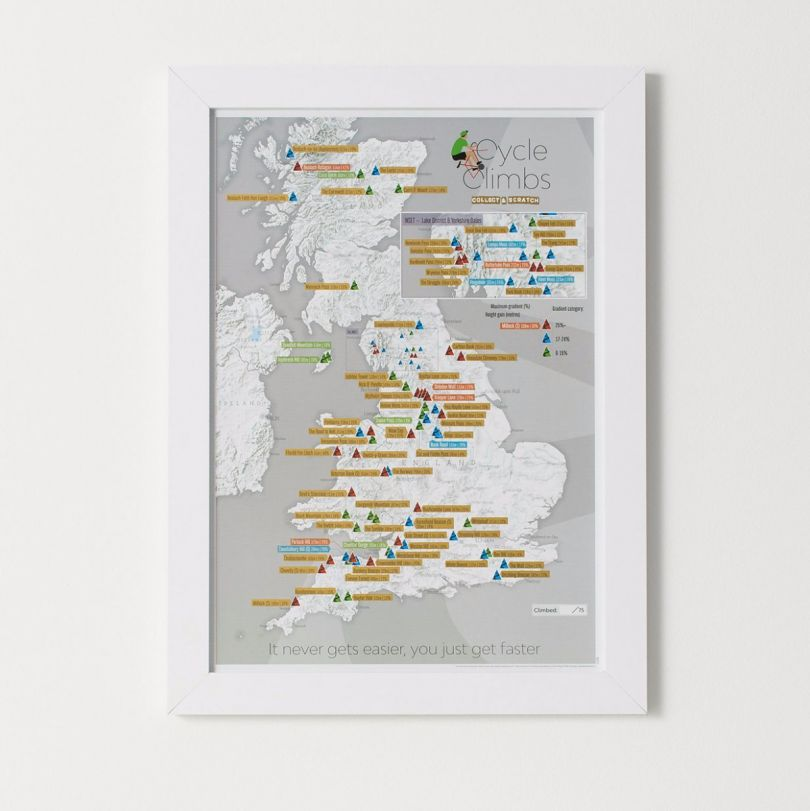 Scratch Off UK Cycle Climbs Print (Pinboard & wood frame - White)