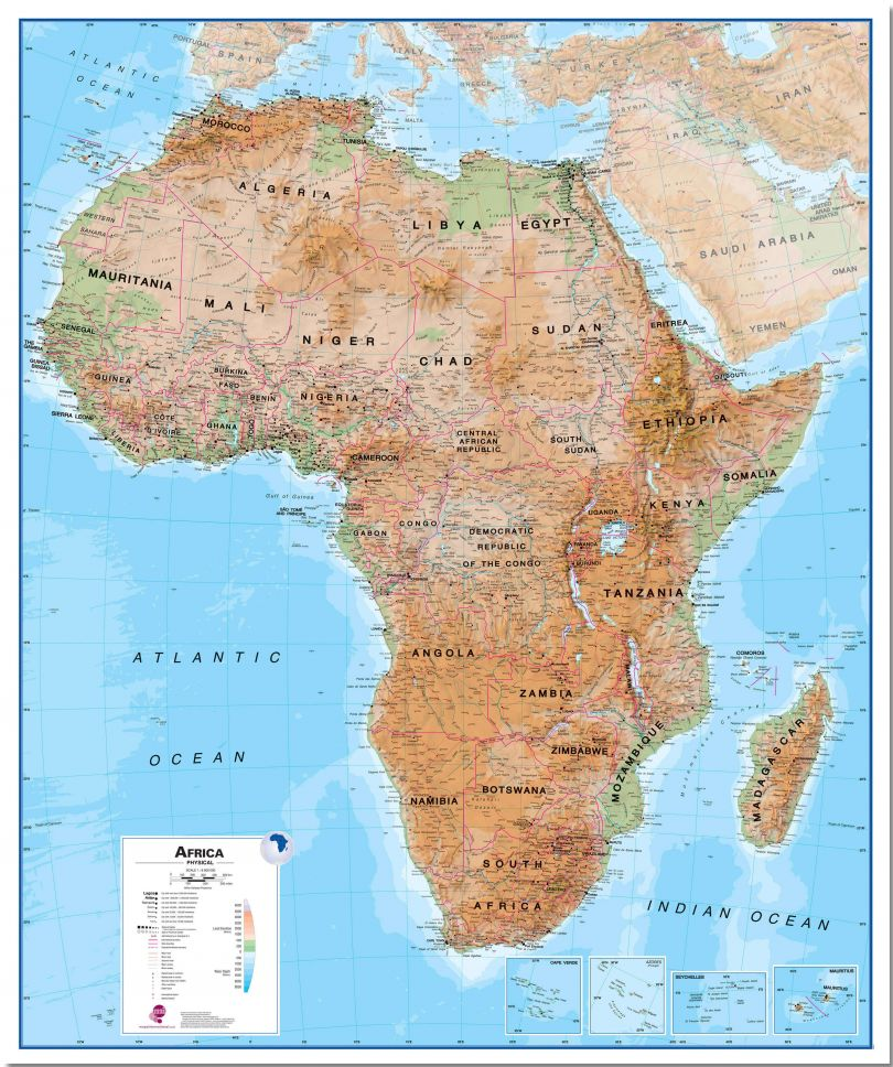 Large Africa Wall Map Physical (Pinboard)