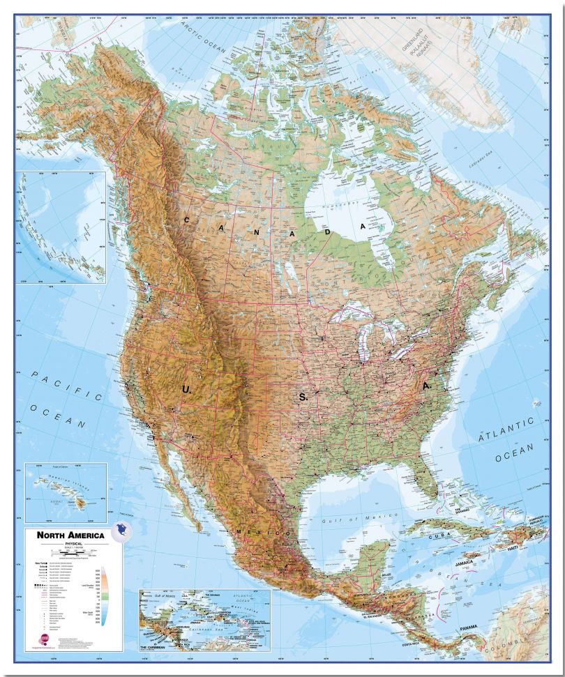 Large North America Wall Map Physical (Pinboard)