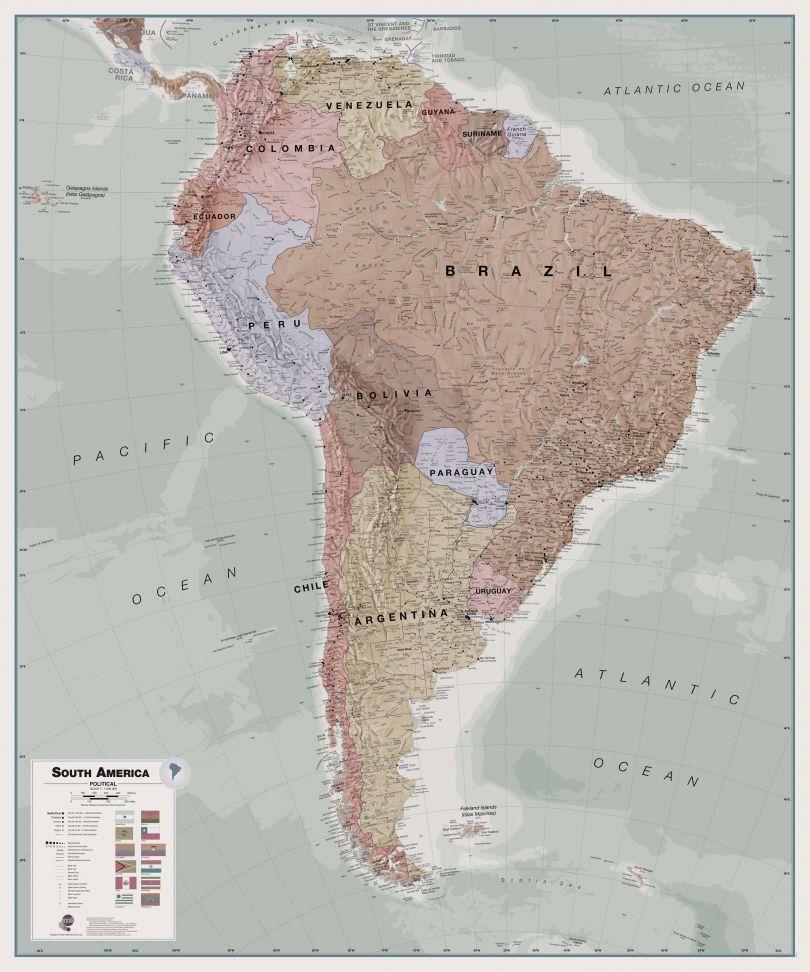 Executive South America Wall Map Political