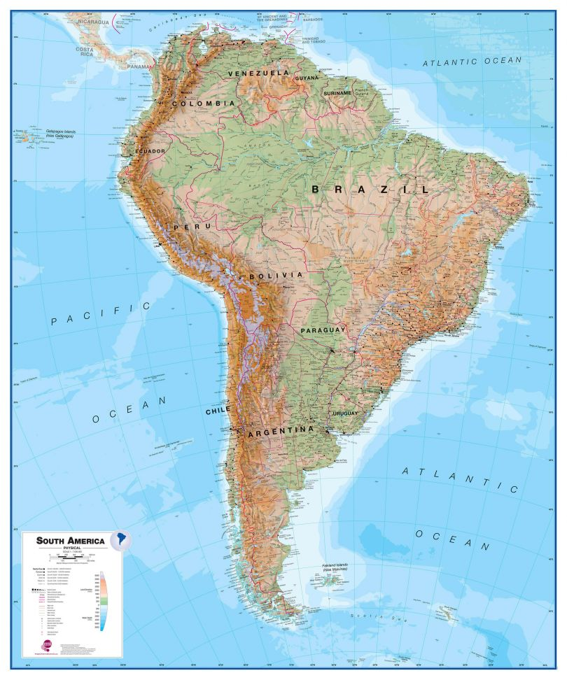 Large South America Wall Map Physical (Raster digital)