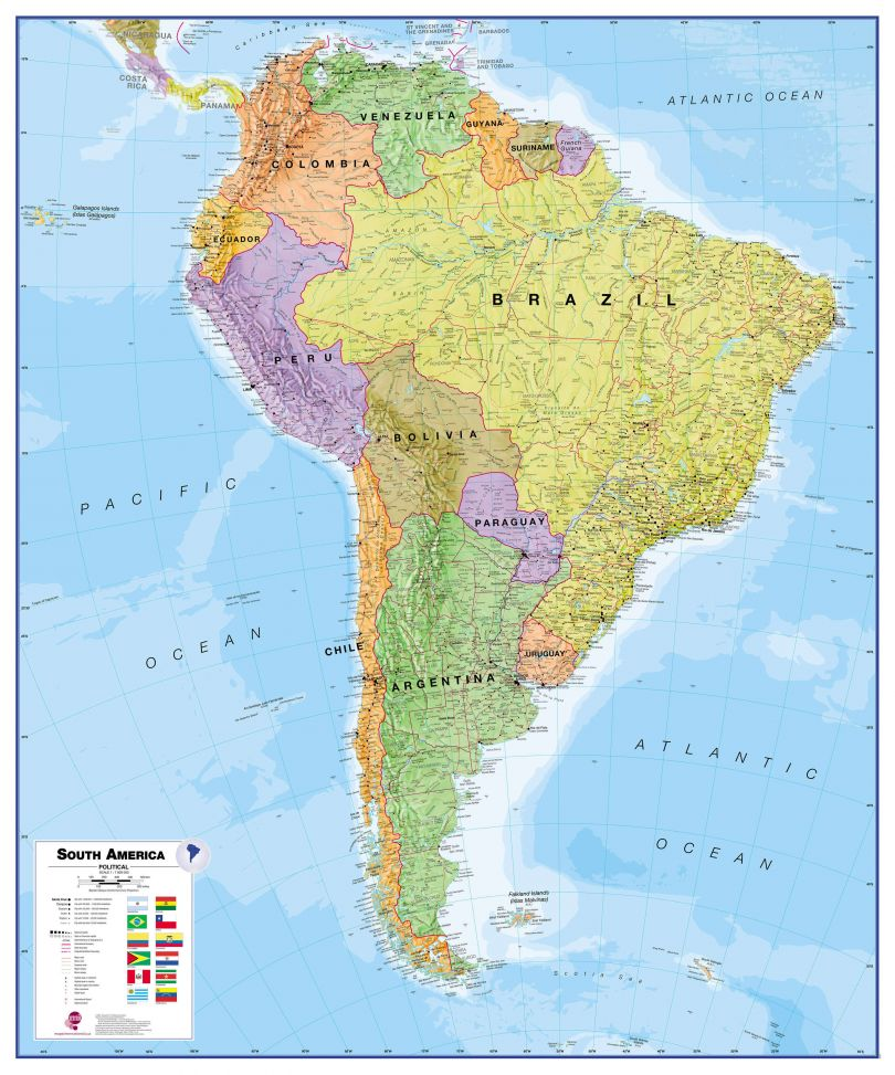 Huge South America Wall Map Political (Laminated)