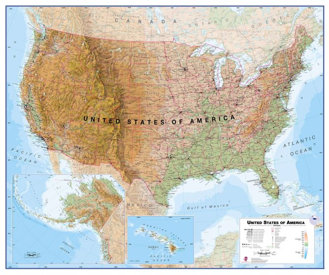 Wall Map Physical - Usa map physical
