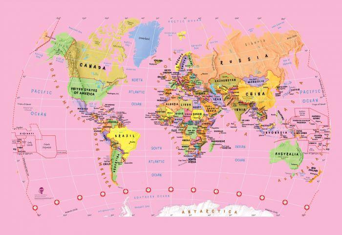 Pink Childrens World Map Wallpaper