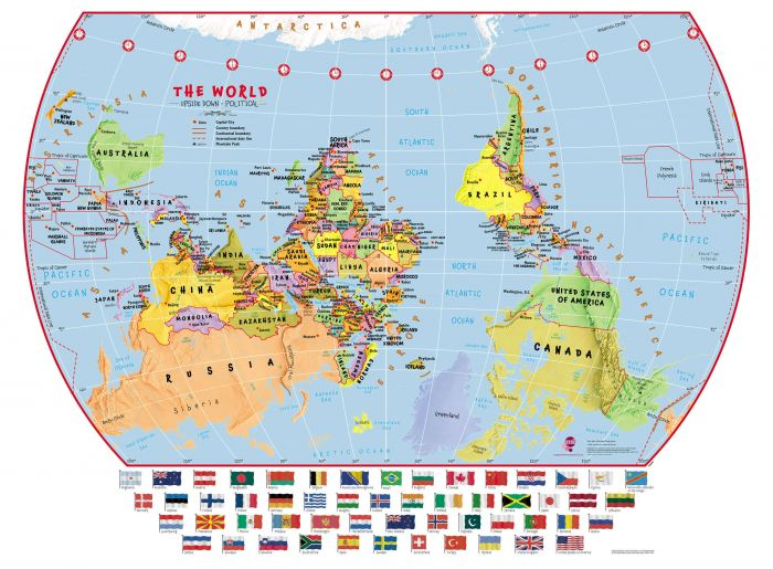 Upside Down World Wall Map Political with flags