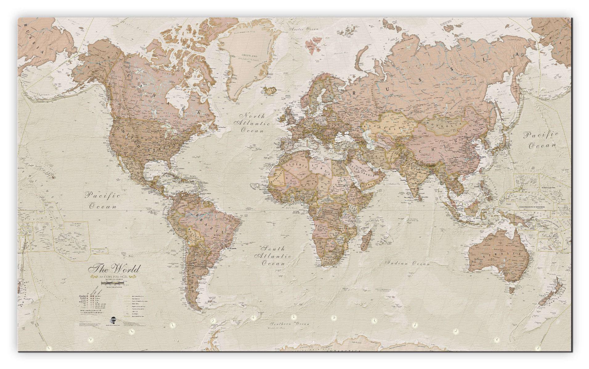 Large Antique World Map Canvas