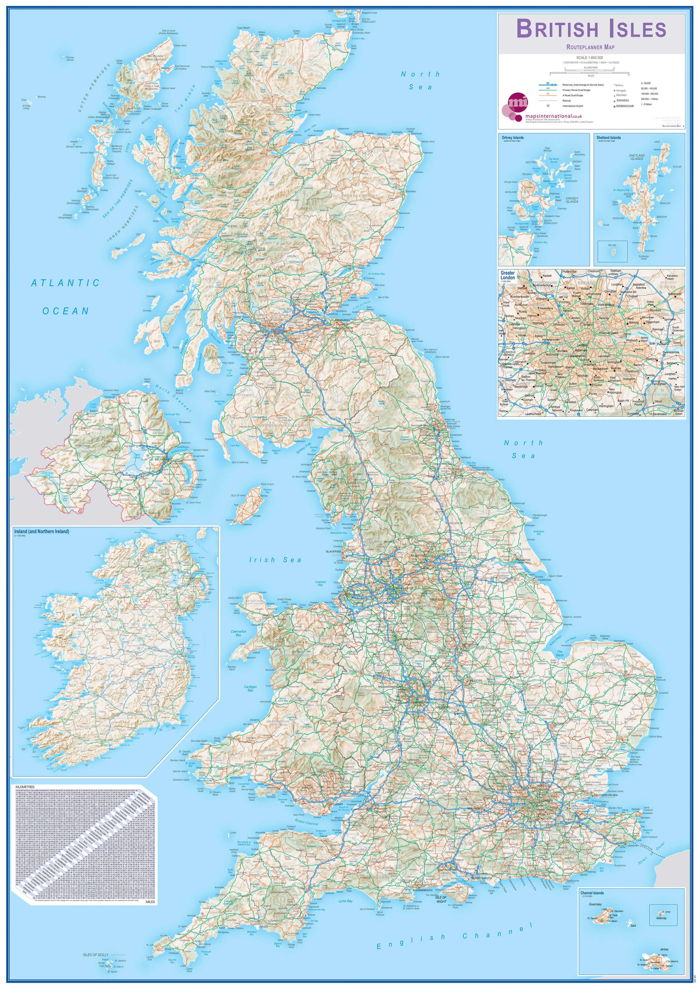 Huge British Isles Routeplanning Map Acrylic