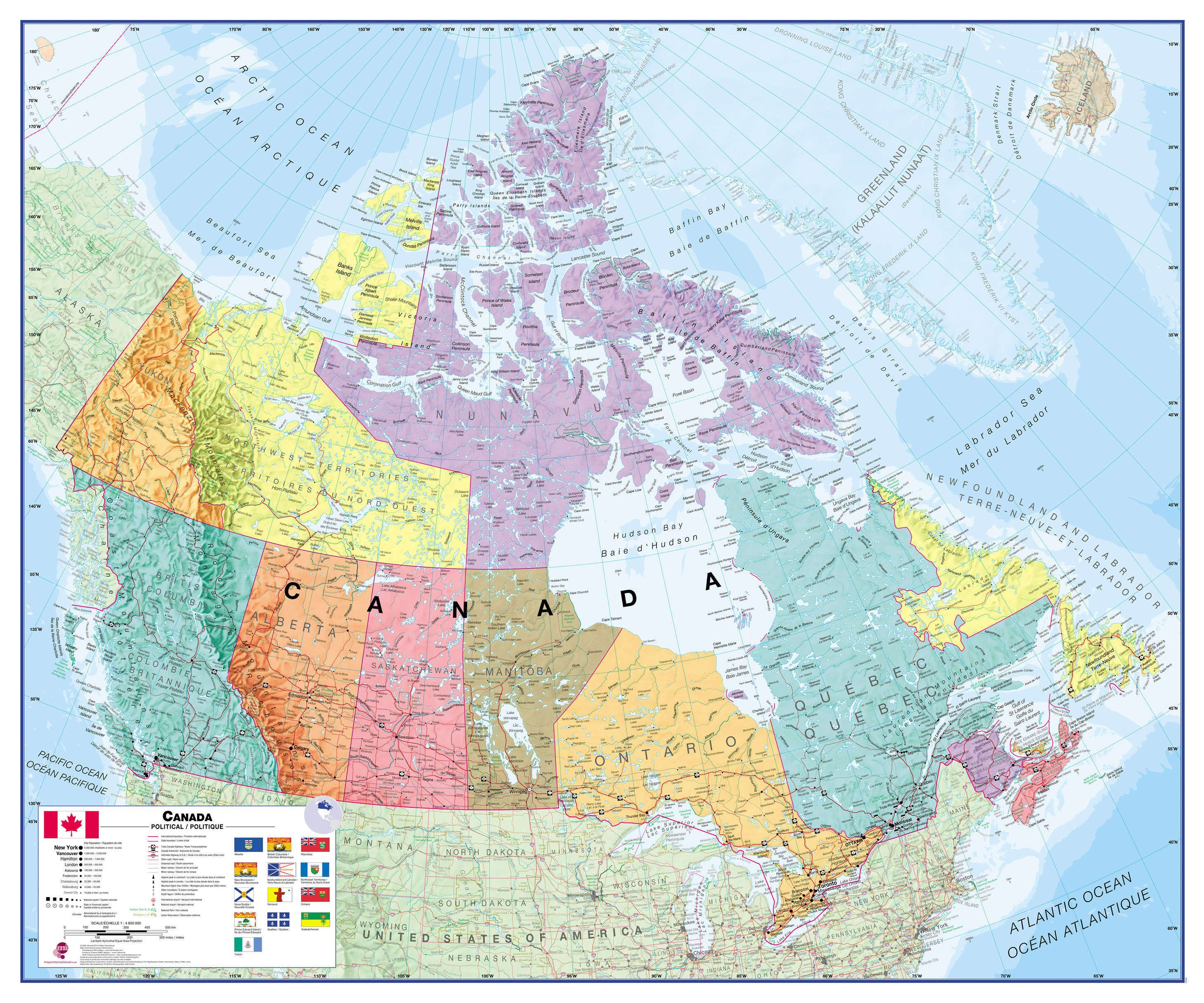Canada Wall Map Political - The political map of canada