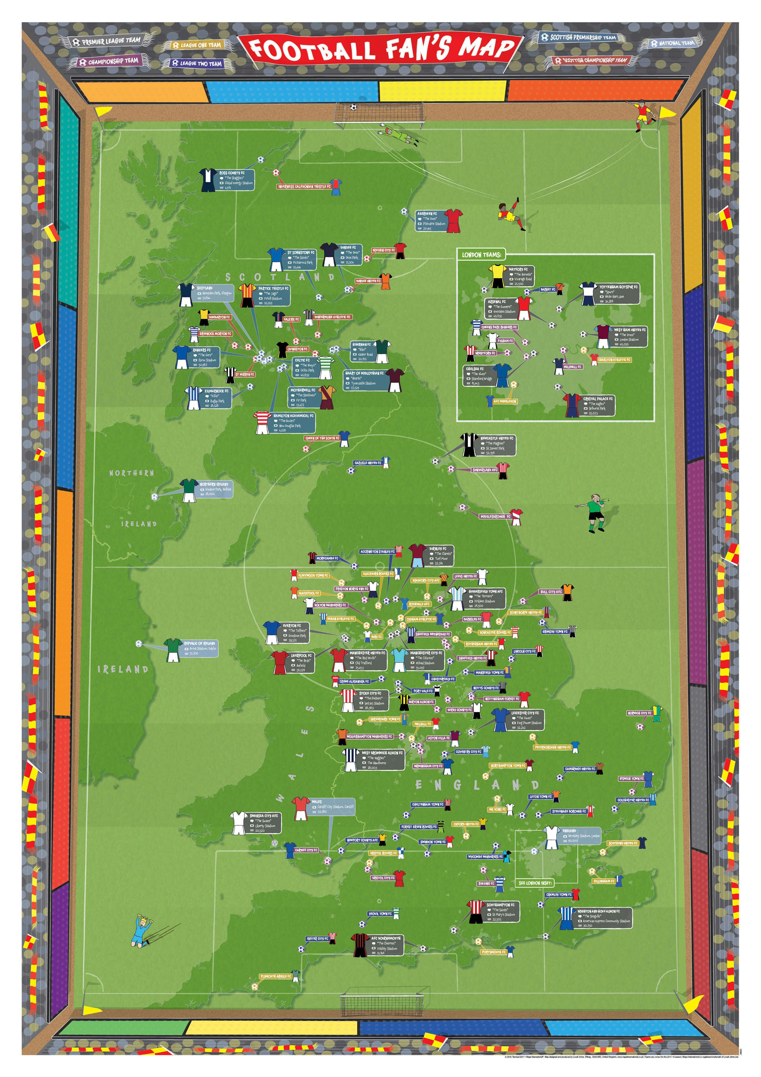 Football Fans Stadium Map - Scratch off us state maps with pencil 25 pack