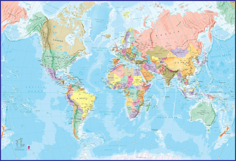 Giant world map mural blue ocean mural for Blue world map mural