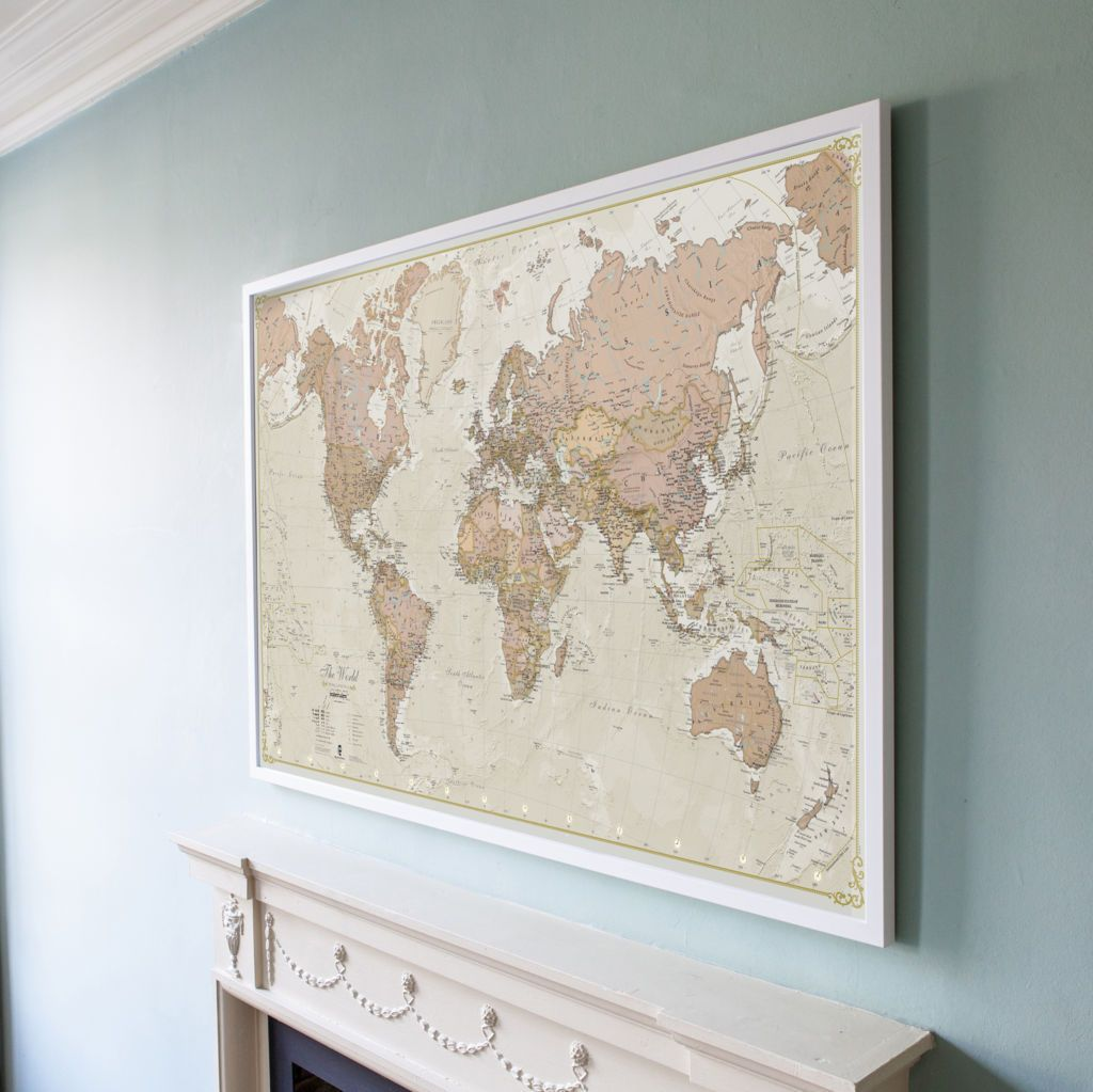 large antique world map pinboard wood frame white