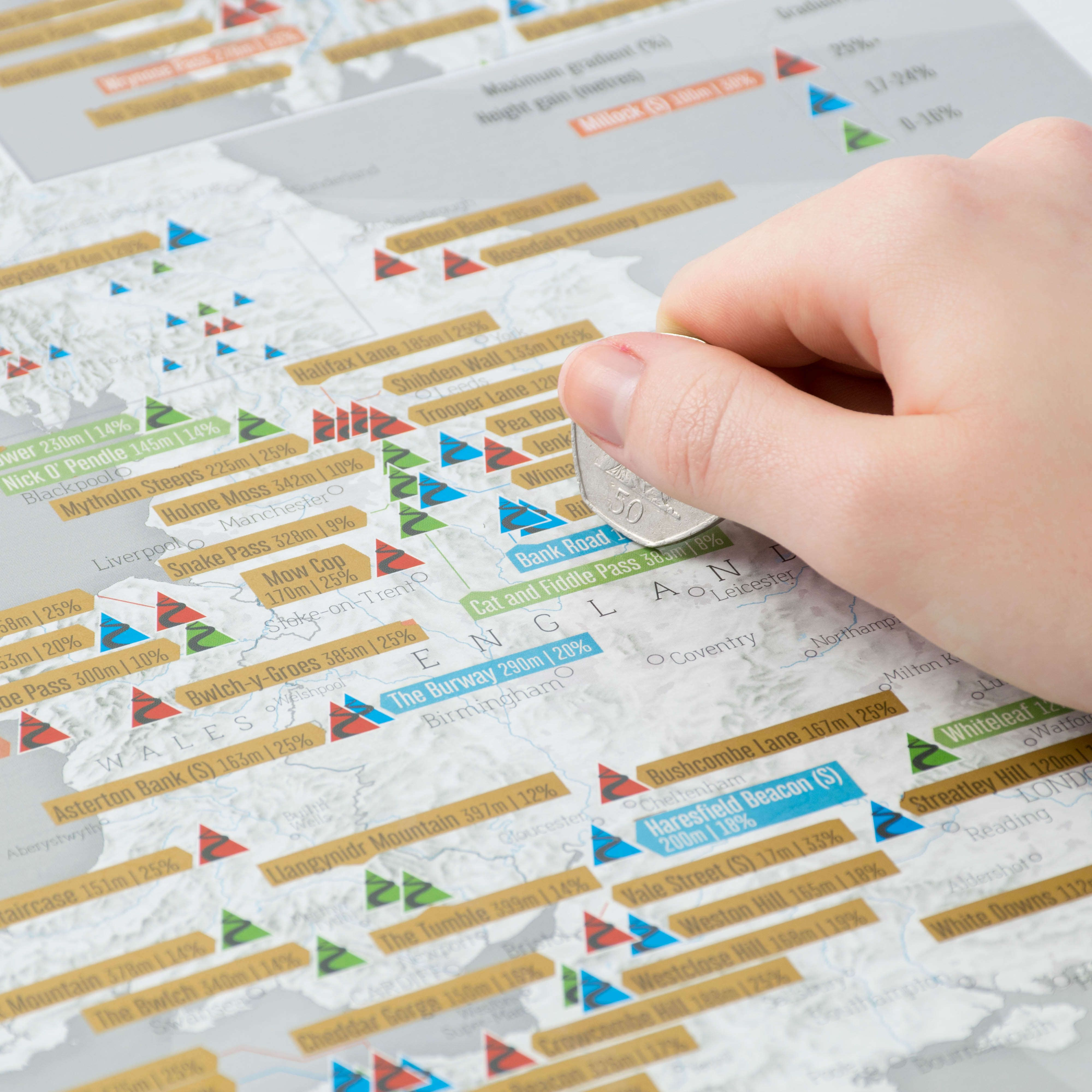 Scratch Off UK Cycle Climbs Print - Scratch off us states maps for class with pencil
