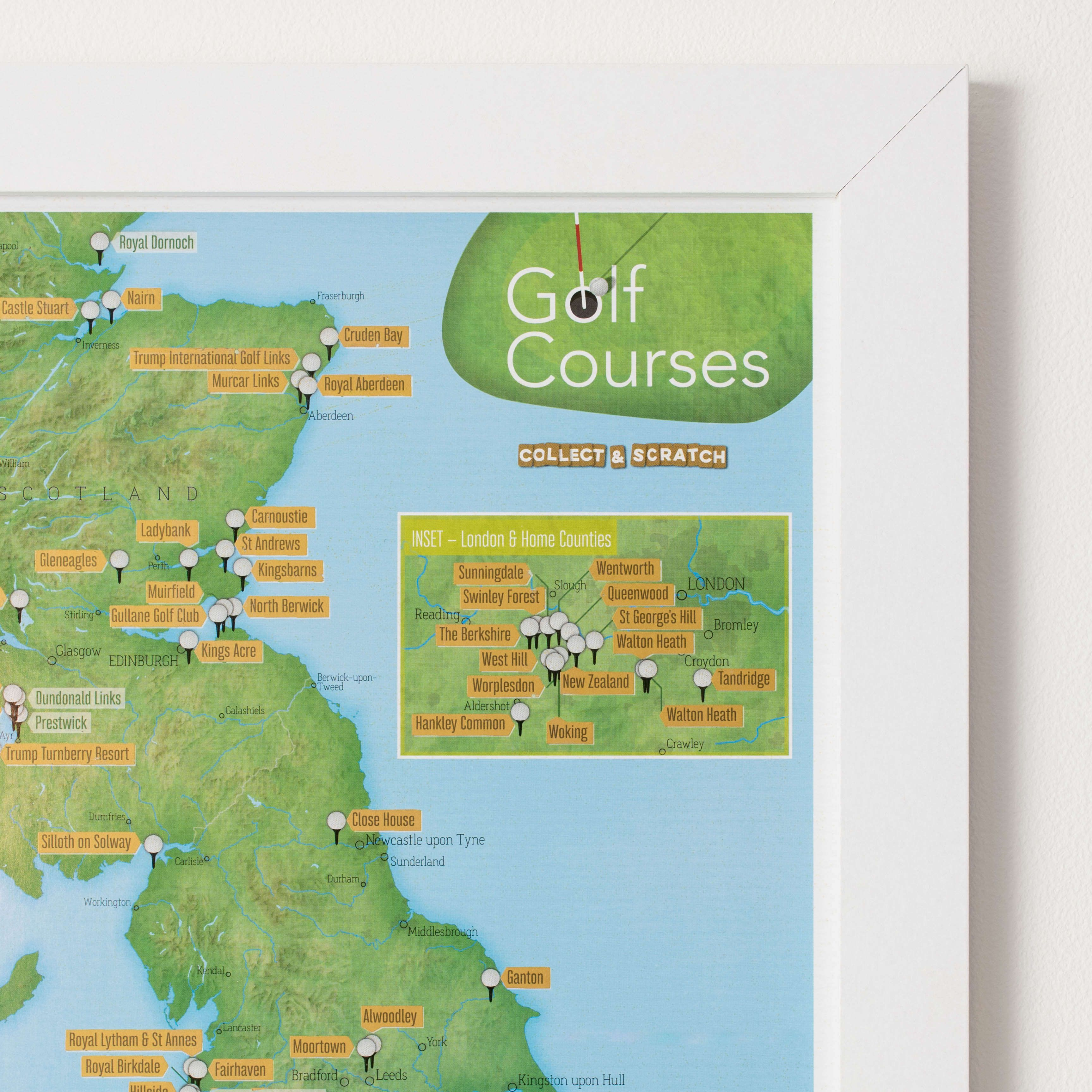 Scratch Off UK Golf Courses Print - Scratch off us states maps for class with pencil