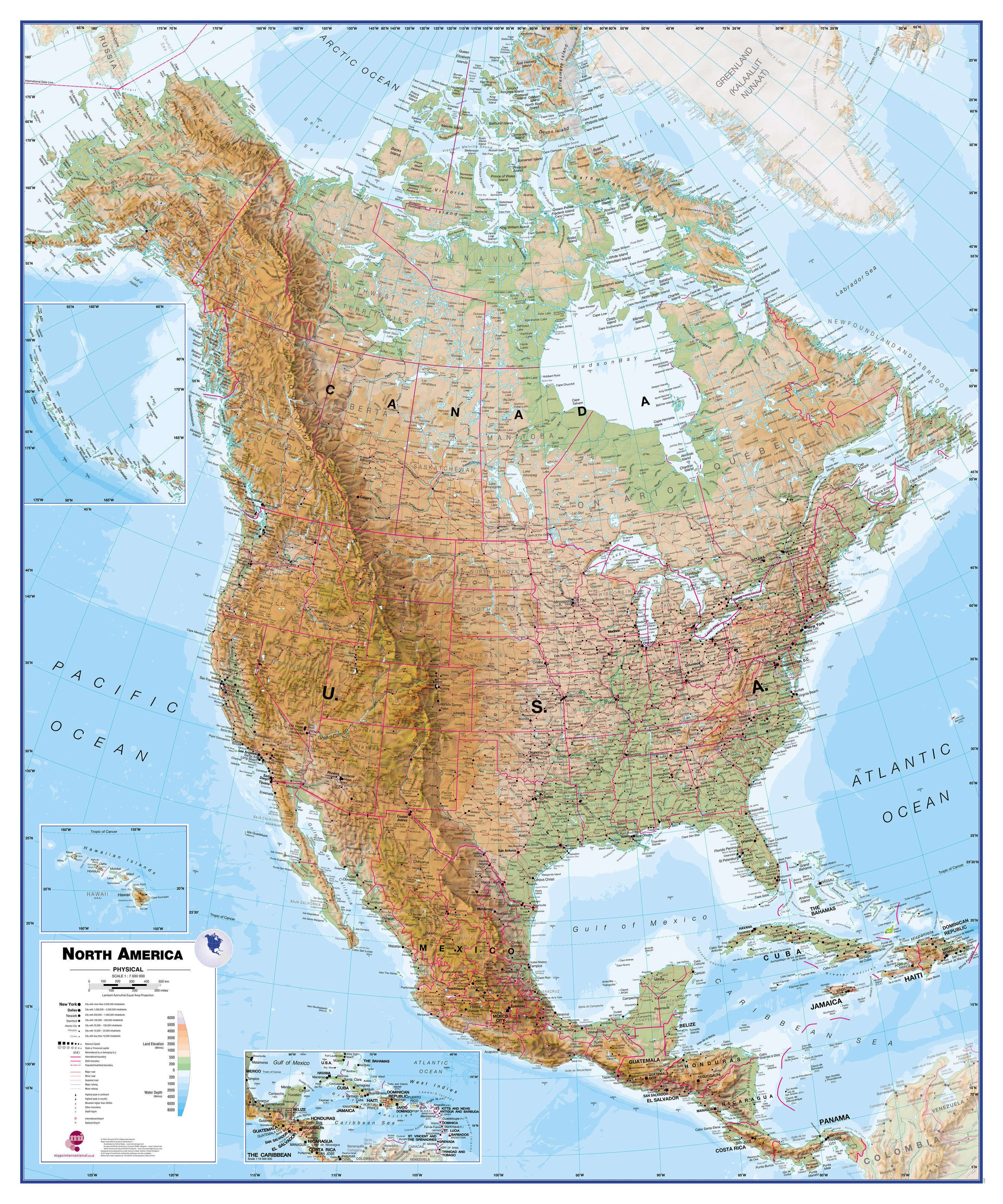 North America Wall Map Physical - North america continent map physical