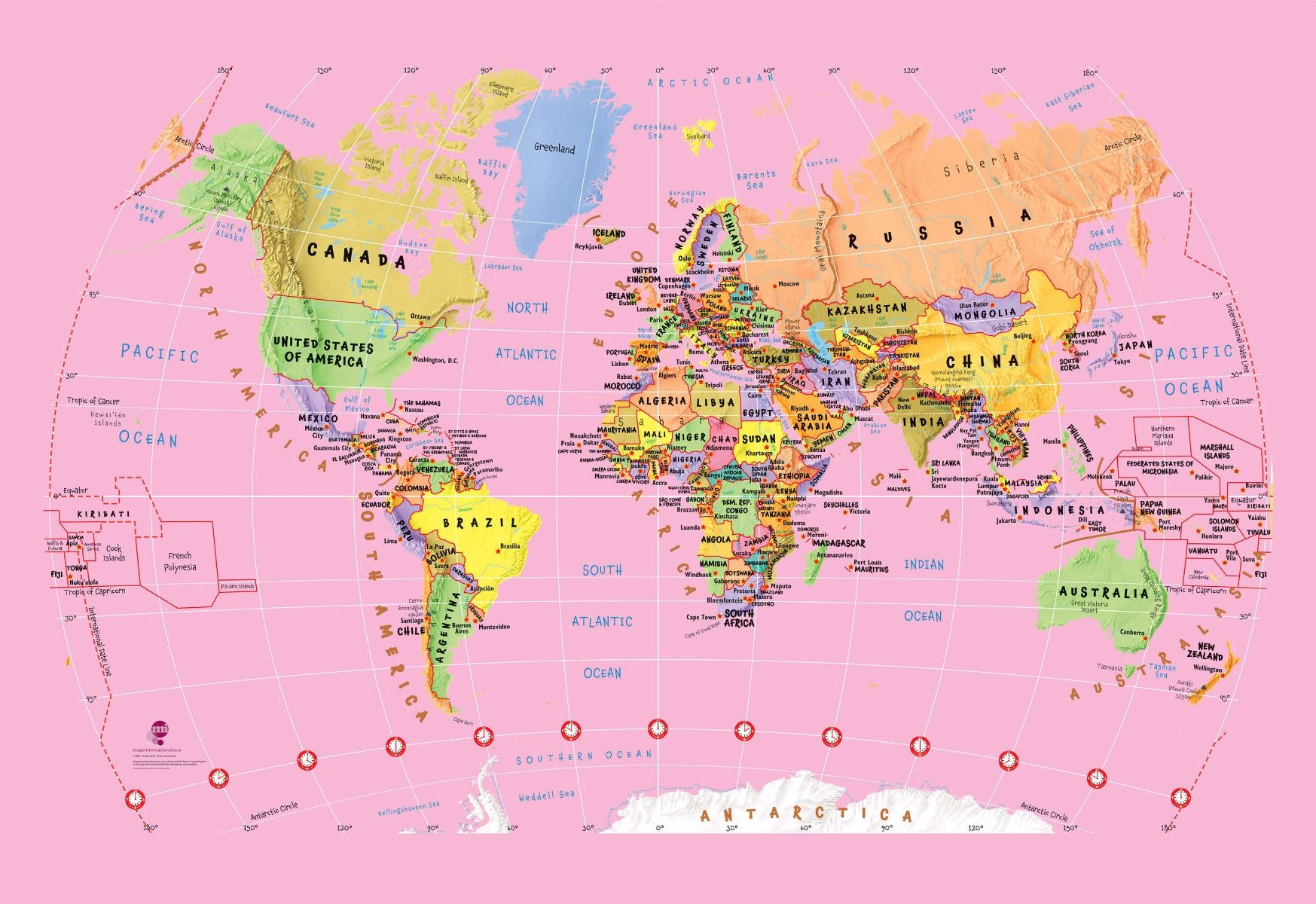 Pink childrens world map wallpaper pink childrens world map wallpaper hover to zoom gumiabroncs Choice Image
