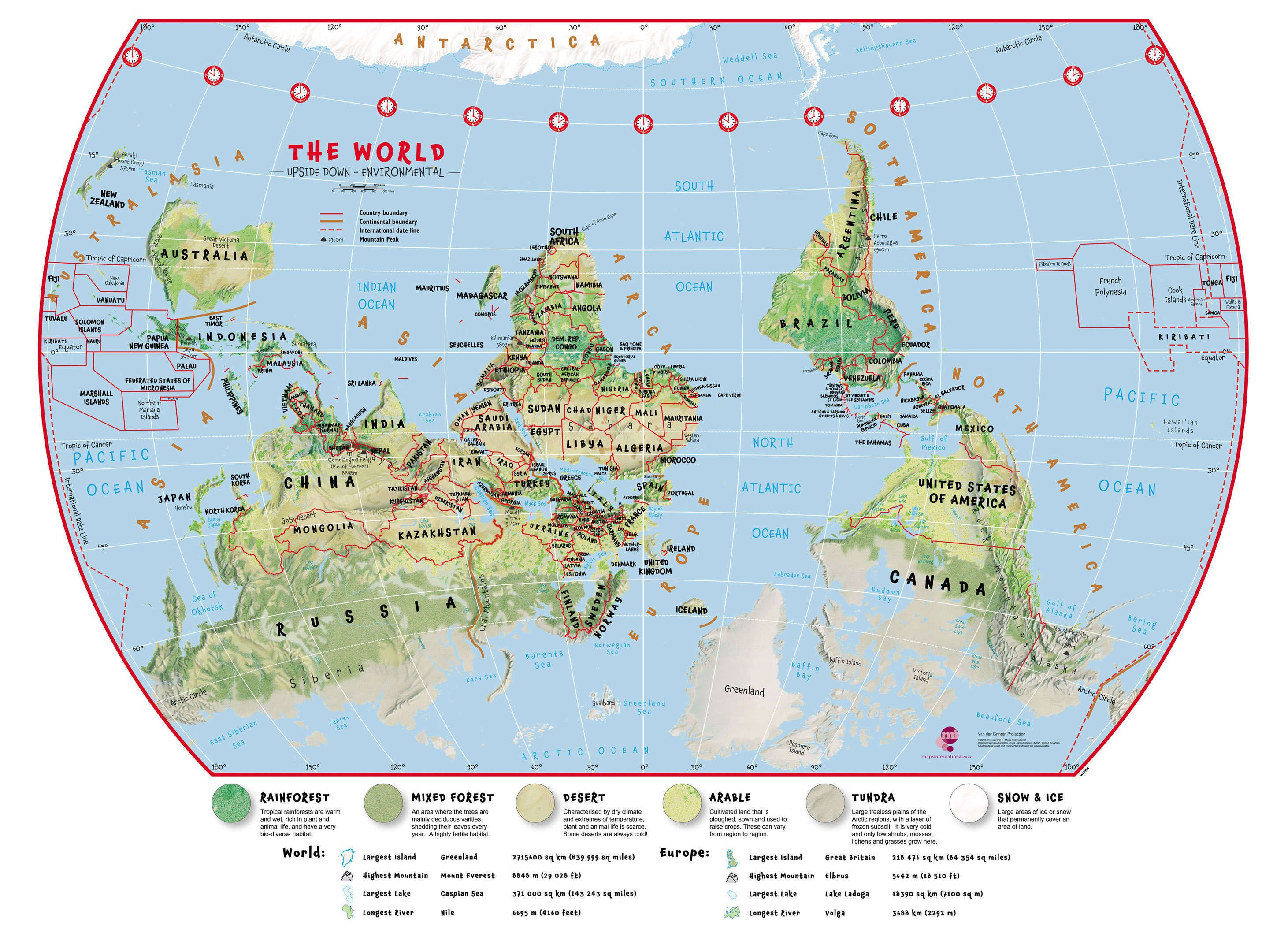 Large Primary Upside Down World Wall Map Environmental
