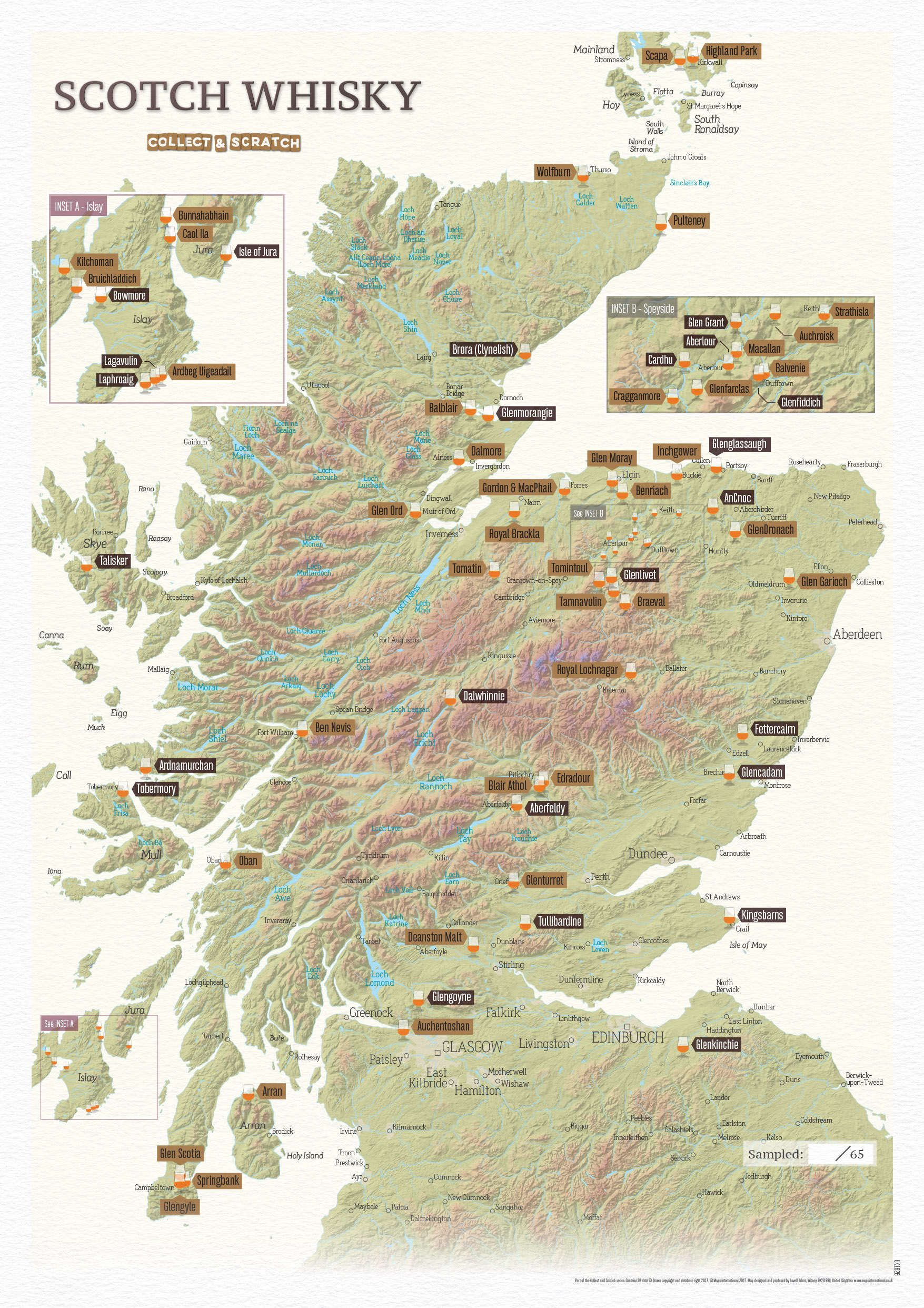 Scratch Off Scotland Whisky Distilleries Print - Scratch off us state maps with pencil