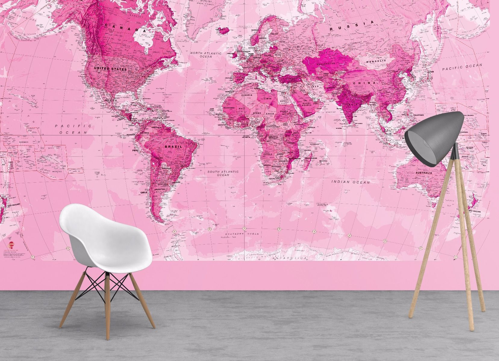 Pink World Map Wallpaper