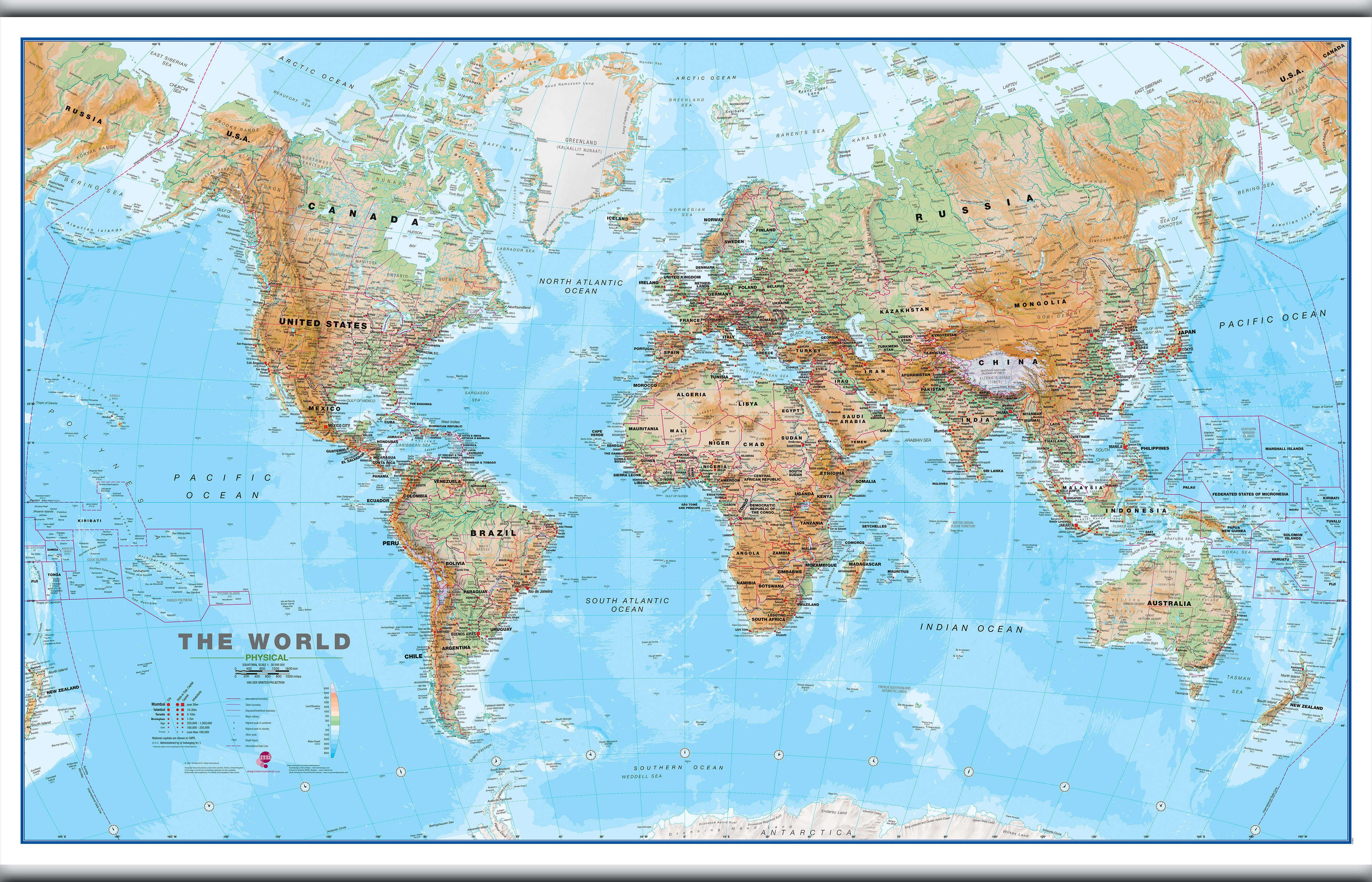 large world wall map physical hanging bars. Black Bedroom Furniture Sets. Home Design Ideas