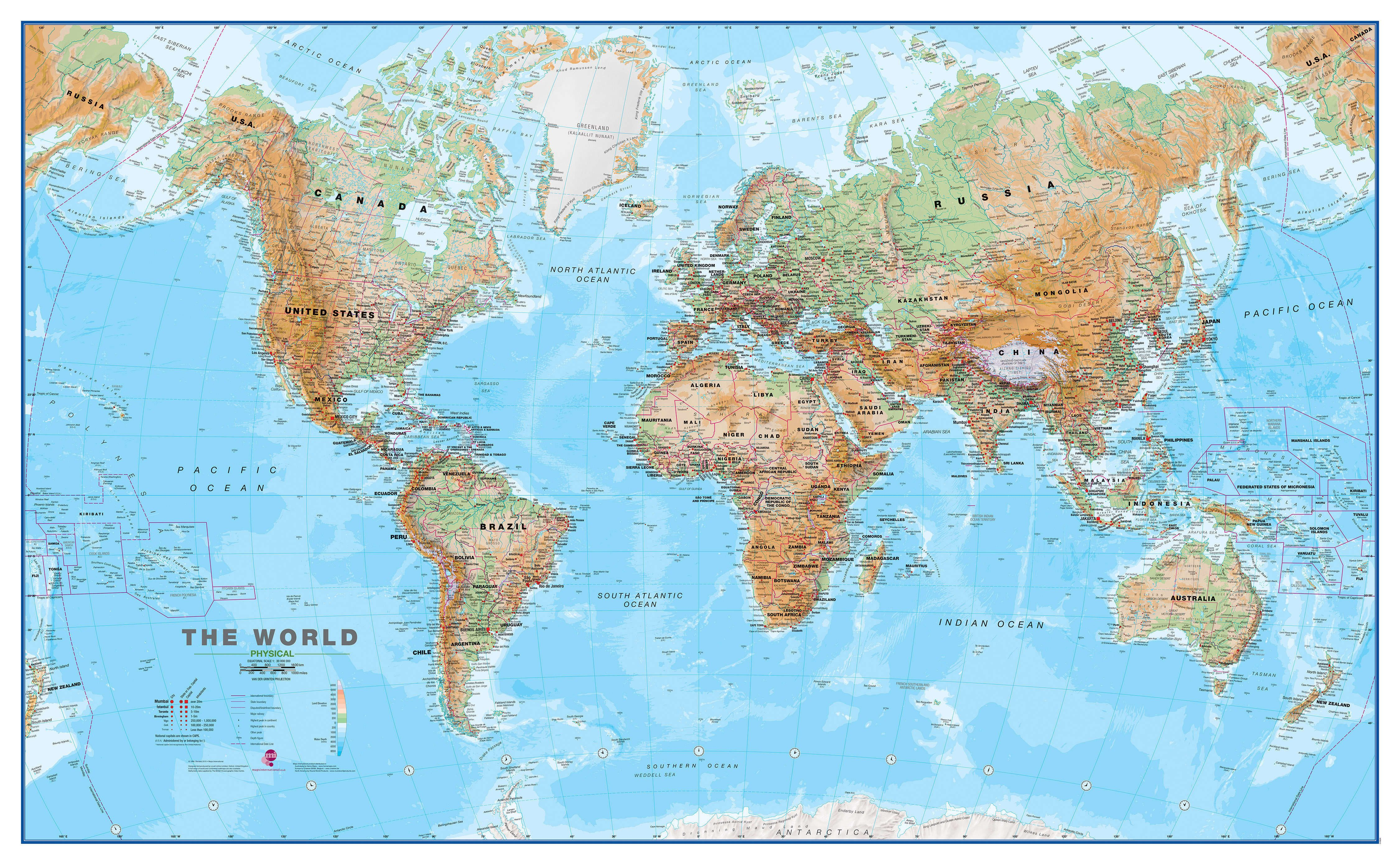 World Wall Map Physical - Australia on the world map