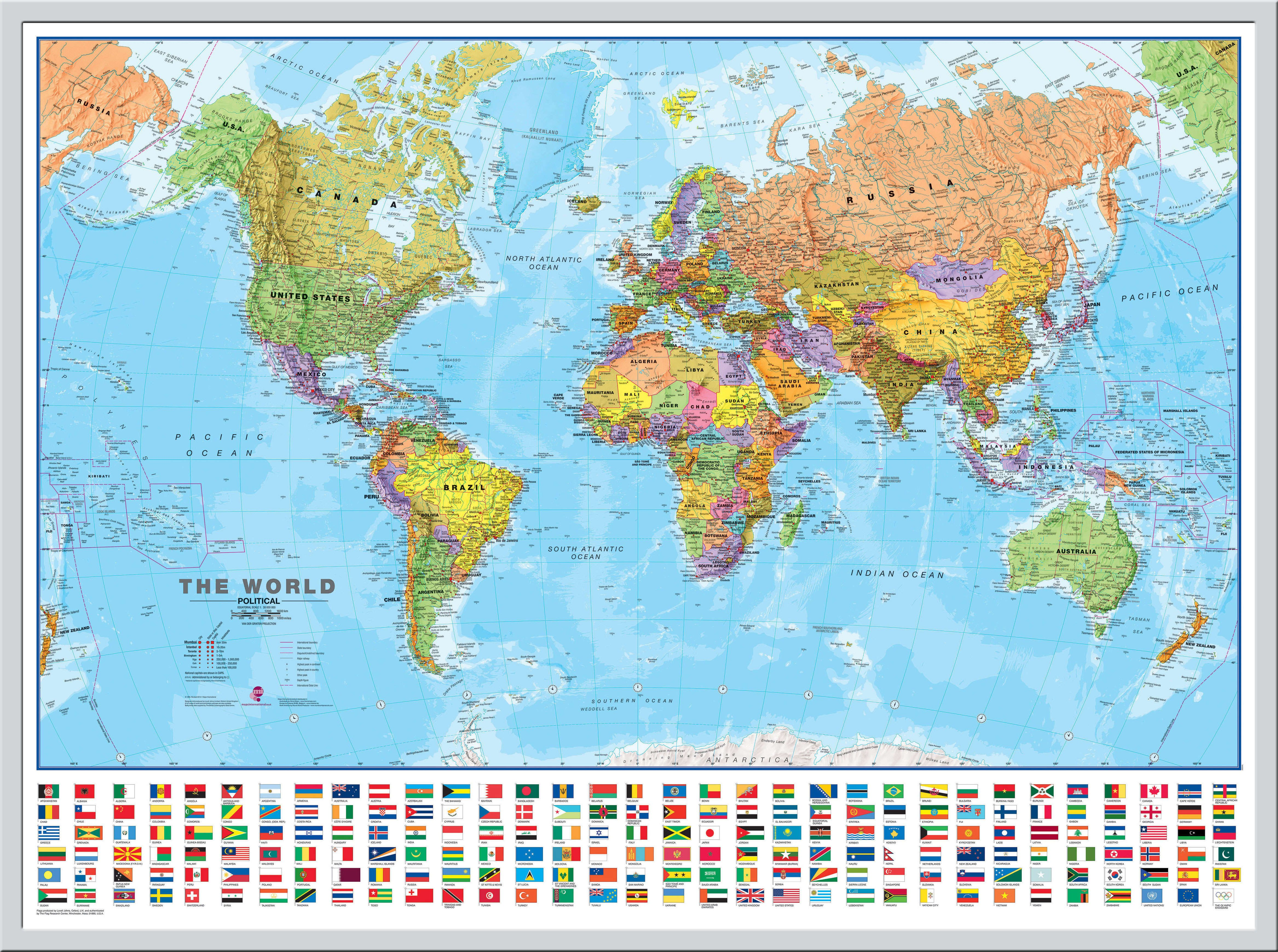 Large World Wall Map Political with flags Snap Frame