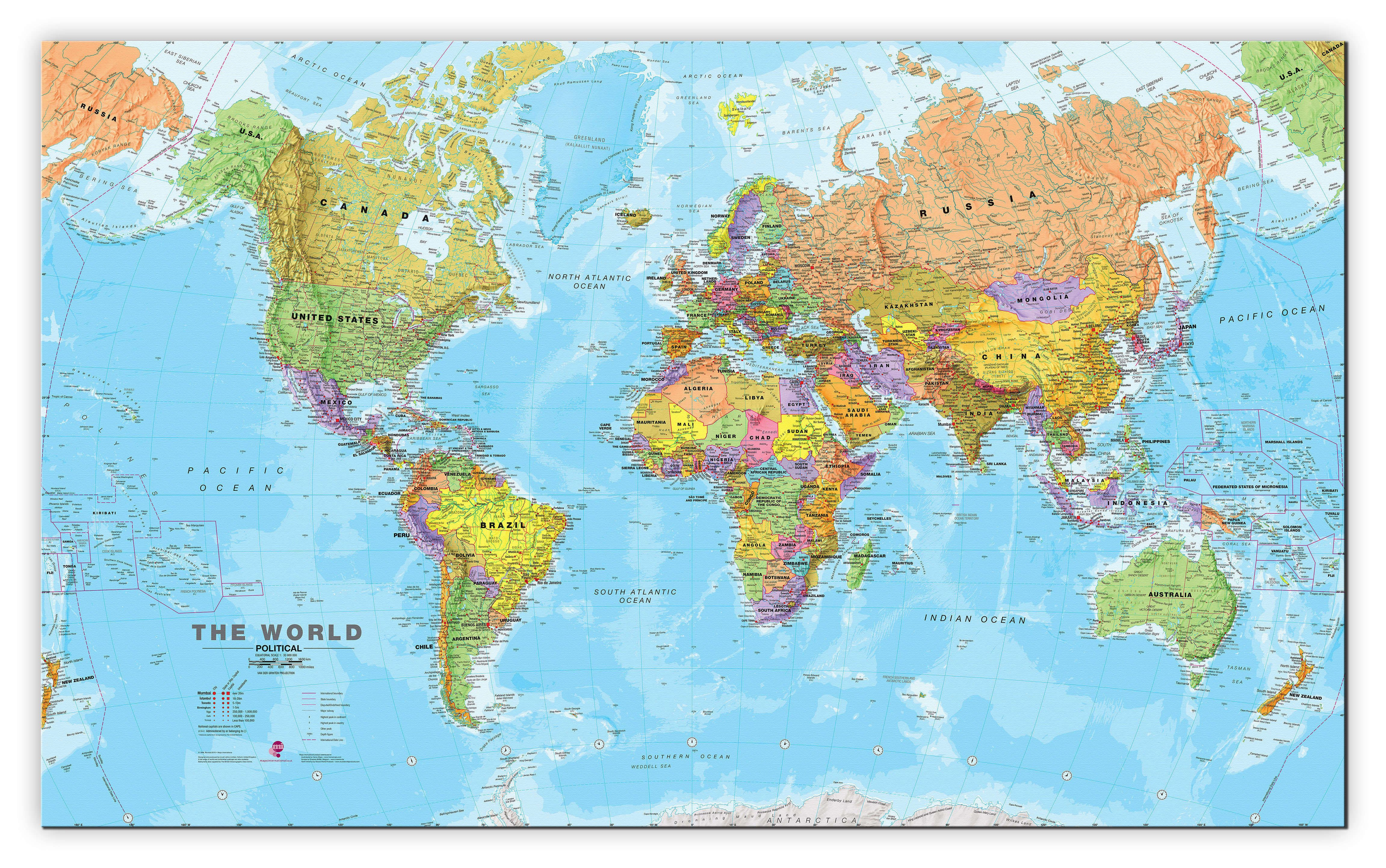 Large World Wall Map Political Canvas