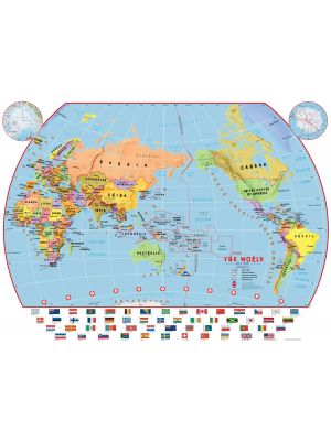 Primary Pacific Centred World Wall Map Political With Flags