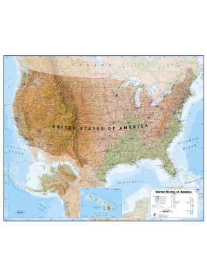 Large USA Wall Map Physical Pinboard Framed Black - Magnetic us wall map