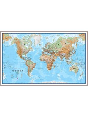 large world wall map physical snap frame shop by finish wall maps. Black Bedroom Furniture Sets. Home Design Ideas