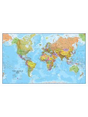 large world wall map political canvas. Black Bedroom Furniture Sets. Home Design Ideas