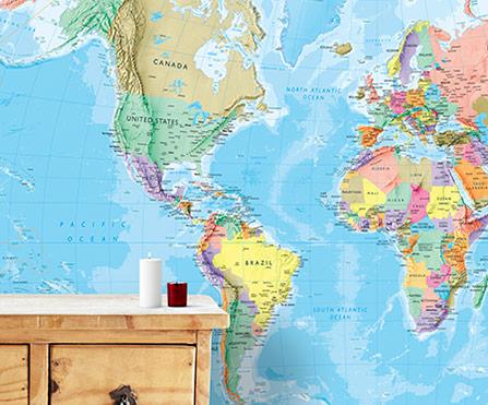 Map wallpaper for Blue world map mural