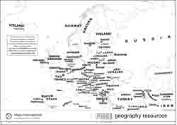 Outline black and white Europe map
