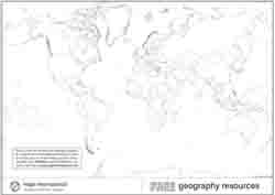 Outline black and white World map with country borders only.