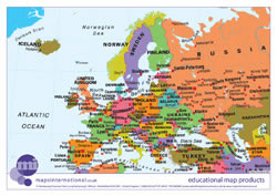 Politically coloured Europe map