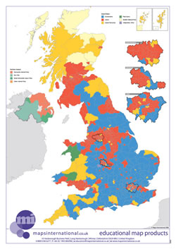 UK map with country/ county/ district/ unitary boundaries and names.